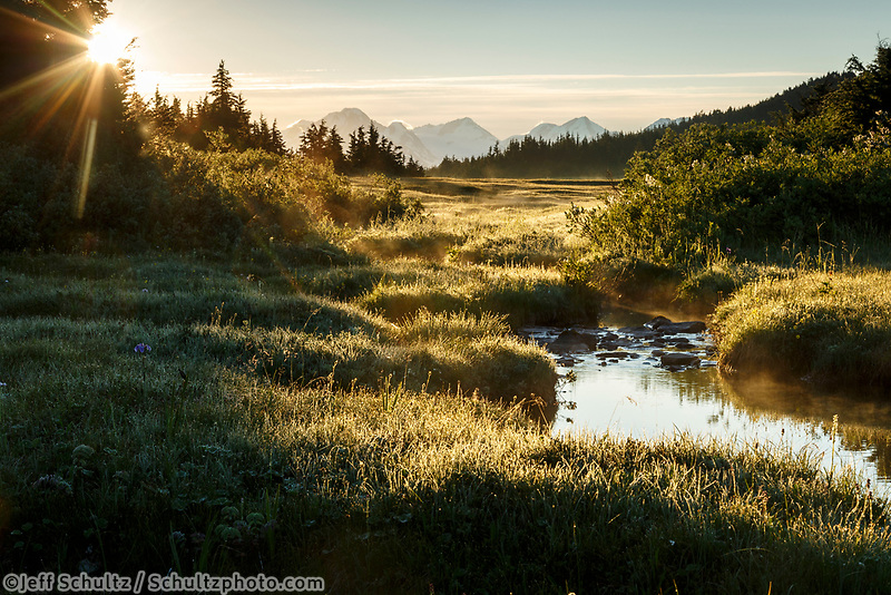 Summer landscape of sunrise in Turnagain Pass area with small creek. Chugach Mountains in background   Summer  Southcentral, Alaska 2016<br /> <br /> Photo by Jeff Schultz/SchultzPhoto.com  (C) 2016  ALL RIGHTS RESVERVED
