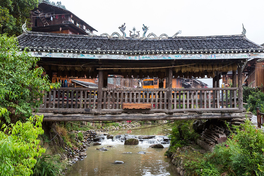 Zhaoxing, Guizhou, China, a Dong Minority Village with Covered Bridge (Fengyu).