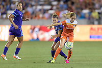 Kealia Ohai (7) of the Houston Dash blocks Stephanie Catley (7) of the Orlando Pride from the ball on Friday, May 20, 2016 at BBVA Compass Stadium in Houston Texas. The Orlando Pride defeated the Houston Dash 1-0.