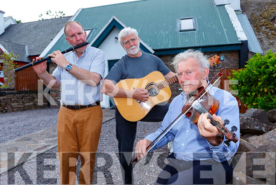 tim O'Connor, Rennie Beetham and Ciaran Kelleher playing tunes at the launch of the  Fleadh Cheoil Chiarrai in Milltown on Friday night