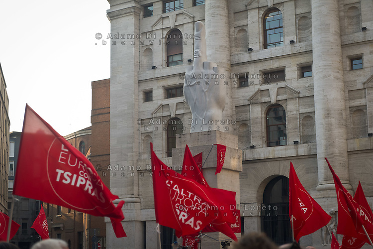 during the presentation of Italy's Tsipras List in Piazza Affari (Milan Stock Exchange) , on April 23, 2014. Photo: Adamo Di Loreto/BuenaVista*Photo