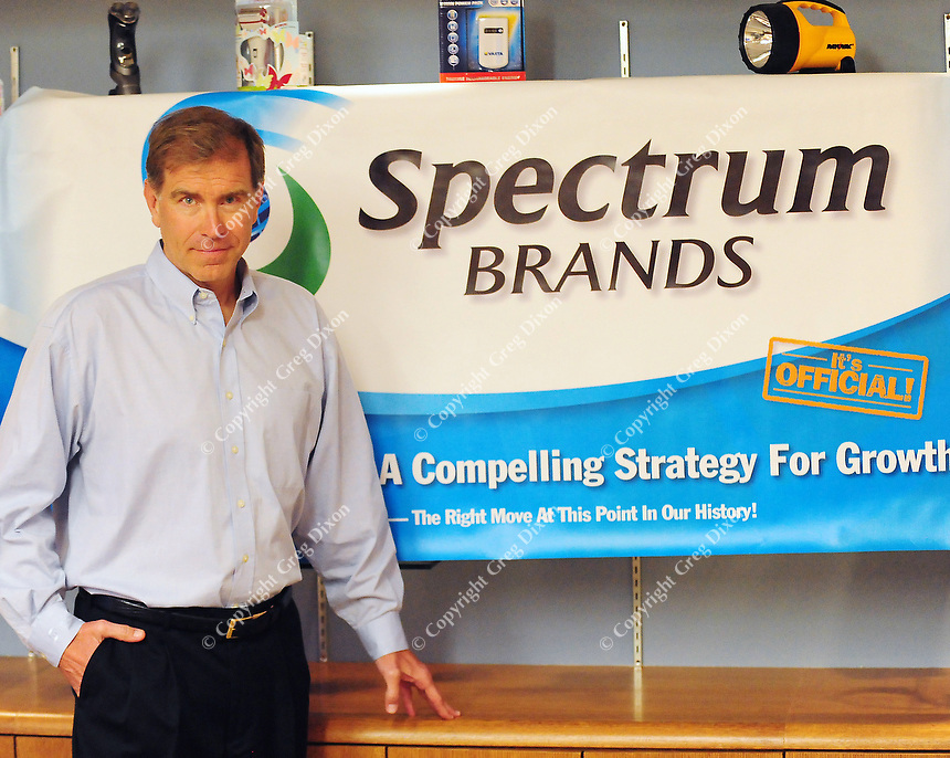 Dave Lumley, the new CEO of Spectrum Brands, poses at the Rayovac office complex on Thursday in Madison