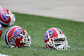 July 26th 2008:  Buffalo Bills helmets rest on the field during the second day of training camp at St. John Fisher College in Rochester, NY.  Photo Copyright Mike Janes Photography 2008.