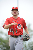 Harrisburg Senators infielder Cutter Dykstra (15) during the game against the Trenton Thunder at ARM & HAMMER Park on May 21, 2014 in Trenton, New Jersey.  Harrisburg defeated Trenton 9-0.  (Tomasso DeRosa/Four Seam Images)