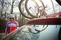 Paris-Roubaix 2013 RECON at Bois de Wallers-Arenberg..Luca Paolini (ITA)