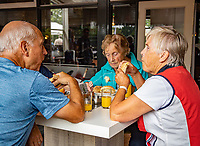 Oldenzaal, Netherlands, August 15, 2019, TC Ready, Old Stars Program, Tom Okker and Sjaak Swart, lunch<br /> Photo: Tennisimages/Henk Koster