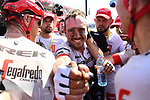 An emotional John Degenkolb (GER) Trek-Segaferdo wins Stage 9 of the 2018 Tour de France running 156.5km from Arras Citadelle to Roubaix, France. 15th July 2018. <br /> Picture: ASO/Alex Broadway | Cyclefile<br /> All photos usage must carry mandatory copyright credit (&copy; Cyclefile | ASO/Alex Broadway)