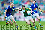 Cathal Ferriter Kerry in action against Evaan Fortune Cavan in the All Ireland Minor Semi Final in Croke Park on Sunday.