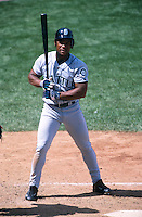 SAN FRANCISCO, CA - Rickey Henderson of the Seattle Mariners bats during a game against the San Francisco Giants at Pacific Bell Park in San Francisco, California on June 10, 2000. Photo by Brad Mangin