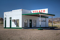 An old Texaco  gas station on Route 66 in Needles California.