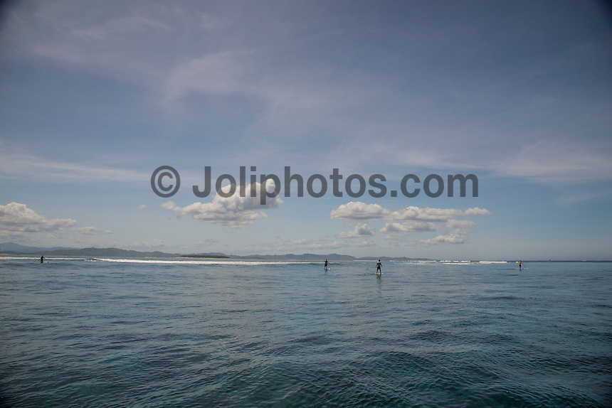 Namotu Island Resort, Fiji. Tuesday February 3 2015) - The surf was in the 2' range for most of the day with the guests splitting themselves between SUPing and surfing at Namotu Lefts, surfing at Cloudbreak, going fishing or heading to Cloud 9.  Photo: joliphotos.com