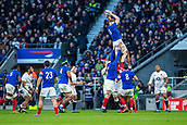 10th February 2019, Twickenham Stadium, London, England; Guinness Six Nations Rugby, England versus France; Felix Lambey of France wins a line out