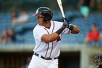 Mississippi Braves third baseman Rio Ruiz (5) at bat during a game against the Pensacola Blue Wahoos on May 27, 2015 at Trustmark Park in Pearl, Mississippi.  Pensacola defeated Mississippi 7-5 in fourteen innings.  (Mike Janes/Four Seam Images)