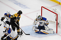June 12, 2019: St. Louis Blues goaltender Jordan Binnington (50) makes a save during game 7 of the NHL Stanley Cup Finals between the St Louis Blues and the Boston Bruins held at TD Garden, in Boston, Mass.  The Saint Louis Blues defeat the Boston Bruins 4-1 in game 7 to win the 2019 Stanley Cup Championship.  Eric Canha/CSM.