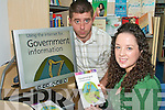 BOOK TIME: Castleisland Librarian Eamon Browne explaining the concept of the new Reading Scanner to Caroline Kearney from Cordal at the opening of the new Catleisland Library last week.   Copyright Kerry's Eye 2008
