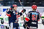 S&ouml;dert&auml;lje 2014-09-22 Ishockey Hockeyallsvenskan S&ouml;dert&auml;lje SK - IF Bj&ouml;rkl&ouml;ven :  <br /> S&ouml;dert&auml;ljes Jacob Dahlstr&ouml;m jublar med Robin Press efter sin kvittering til 1-1<br /> (Foto: Kenta J&ouml;nsson) Nyckelord: Axa Sports Center Hockey Ishockey S&ouml;dert&auml;lje SK SSK Bj&ouml;rkl&ouml;ven L&ouml;ven IFB jubel gl&auml;dje lycka glad happy