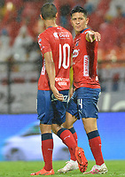 MEDELLIN - COLOMBIA, 20-04-2019: German Cano del Medellín celebra después de anotar el tercer gol de su equipo durante partido por la fecha 17 de la Liga Águila I 2019 entre Deportivo Independiente Medellín y Jaguares de Cordoba F:C: jugado en el estadio Atanasio Girardot de la ciudad de Medellín. / German Cano of Medellin celebrates after scoring the third goal of his team during match for the date 17 of the Aguila League I 2019 between Deportivo Independiente Medellin and Jaguares de Cordoba F:C: played at Atanasio Girardot stadium in Medellin city. Photo: VizzorImage / Leon Monsalve / Cont