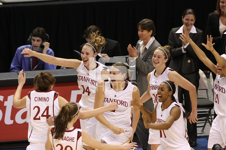 10 March 2008: Stanford Cardinal (not in order) head coach Tara VanDerveer, Jackie Zink, Ashley Cimino, Kayla Pedersen, Jayne Appel, Hannah Donaghe, JJ Hones, Candice Wiggins, and Rosalyn Gold-Onwude during Stanford's 56-35 win against the California Golden Bears in the 2008 State Farm Pac-10 Women's Basketball championship game at HP Pavilion in San Jose, CA.