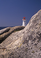 lighthouse, Peggy's Cove, Nova Scotia, NS, Canada, Atlantic Ocean, The old lighthouse stands on top of a massive granite rock in Peggy's Cove in Nova Scotia.