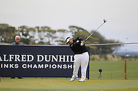 Kiradech Aphibarnrat (THI) on the 17th tee during Round 4 of the 2015 Alfred Dunhill Links Championship at the Old Course in St. Andrews in Scotland on 4/10/15.<br /> Picture: Thos Caffrey | Golffile
