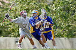 Los Angeles, CA 04/11/09 -  David Zastrow (LMU #34) defends Ryan Sanders (UCSB#5) in the first period of play of the UCSB-LMU Men's Lacrosse game played at Leavey Field at Loyola Marymount.