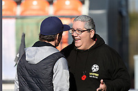 Fleetwood Town manager Joey Barton talks to Ian Abrahams (Moose) of Talksport Radio during Barnet vs Fleetwood Town, Emirates FA Cup Football at the Hive Stadium on 10th November 2019