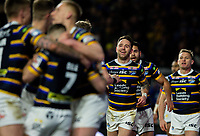 Leeds Rhinos' Richie Myler celebrates after scoring his first try<br /> <br /> Photographer Alex Dodd/CameraSport<br /> <br /> Betfred Super League Round 6 - Leeds Rhinos v Toronto Wolfpack - Thursday 5th March 2020 - Headingley - Leeds<br /> <br /> World Copyright © 2020 CameraSport. All rights reserved. 43 Linden Ave. Countesthorpe. Leicester. England. LE8 5PG - Tel: +44 (0) 116 277 4147 - admin@camerasport.com - www.camerasport.com