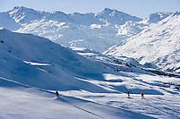 Europe/France/Rhone-Alpes/73/Savoie/Saint-Martin-de-Belleville: le domaine skiable de la vallée de Belleville rejoint celui des Trois Vallées - Skieur et surfeurs des neiges