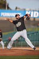 Arizona Diamondbacks pitcher Josh Collmenter (21) makes a rehab start for the Visalia Rawhide against the Lancaster JetHawks at The Hanger on May 7, 2016 in Lancaster, California. Lancaster defeated Visalia, 19-5. (Larry Goren/Four Seam Images)