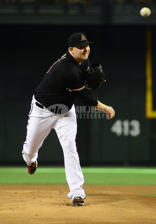May 12, 2012; Phoenix, AZ, USA; Arizona Diamondbacks pitcher Trevor Cahill throws in the first inning against the San Francisco Giants at Chase Field. Mandatory Credit: Mark J. Rebilas-