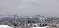 A view of downtown charlottesville in winter.