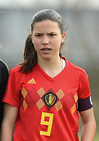 20180314 - TUBIZE , BELGIUM : Belgian Luna Vanzeire pictured during the friendly female soccer match between Women under 15 teams of  Belgium and Gemany , in Tubize , Belgium . Wednesday 14 th March 2018 . PHOTO SPORTPIX.BE / DIRK VUYLSTEKE