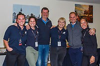 The media A-TEAM with Sir Mark Todd and Tristen Tucker: Sammy Scott; Kate Rankin; Diana Dobson and Libby Law. 2019 Equitana Auckland. ASB Showgrounds. Auckland. New Zealand. Sunday 24 November. Copyright Photo: Libby Law Photography