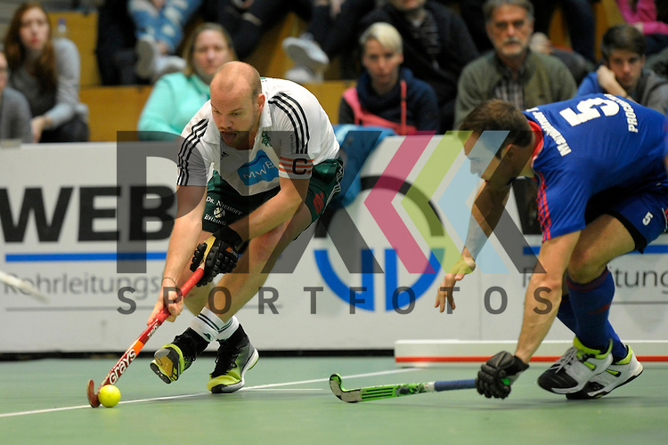 GER - Luebeck, Germany, February 06: During the 1. Bundesliga Herren indoor hockey semi final match at the Final 4 between Uhlenhorst Muelheim (white) and Mannheimer HC (blue) on February 6, 2016 at Hansehalle Luebeck in Luebeck, Germany.  Final score 2-3 (HT 7-5).  Thilo Stralkowski #11 of HTC Uhlenhorst Muehlheim, Tomas Prochazka #5 of Mannheimer HC<br /> <br /> Foto &copy; PIX-Sportfotos *** Foto ist honorarpflichtig! *** Auf Anfrage in hoeherer Qualitaet/Aufloesung. Belegexemplar erbeten. Veroeffentlichung ausschliesslich fuer journalistisch-publizistische Zwecke. For editorial use only.