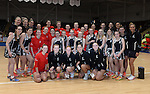 Wales and New Zealand Netball teams pose for photograhs with the Mascots <br /> <br /> Swansea University International Netball Test Series: Wales v New Zealand<br /> Ice Arena Wales<br /> 08.02.17<br /> &copy;Ian Cook - Sportingwales