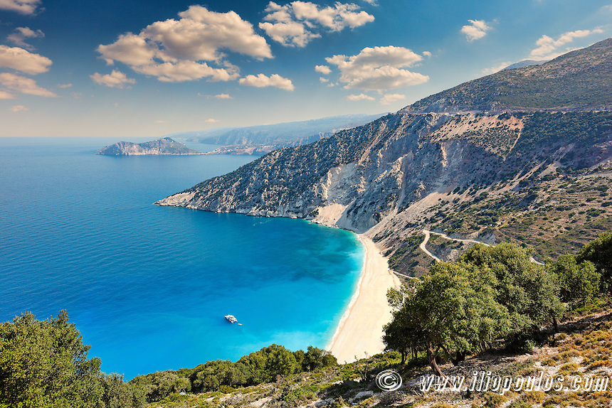 The famous beach Myrtos in Kefalonia island, Greece