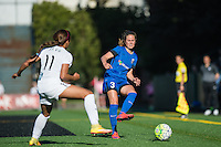 Seattle, WA - Sunday, May 1, 2016: Seattle Reign FC defender Lauren Barnes (3) passes the ball during a National Women's Soccer League (NWSL) match at Memorial Stadium. Seattle won the match 1-0.