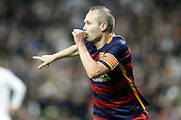 FC Barcelona's Andres Iniesta celebrates goal during La Liga match. November 21,2015. (ALTERPHOTOS/Acero) /NortePhoto