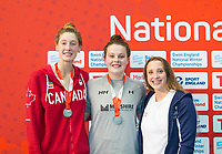 Picture by Allan McKenzie/SWpix.com - 13/12/2017 - Swimming - Swim England Winter Championships - Ponds Forge International Sport Centre - Sheffield, England - Taylor Ruck, Holly Hibbott & Rachel Anderson on the podium for the womens open 200m freestyle.