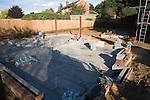 Concrete base for new house building construction, Shottisham, Suffolk, UK