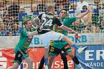 06.10.2019, Klingenhalle, Solingen,  GER, 1. HBL. Herren, Bergischer HC vs. TSV GWD Minden, <br /> <br /> im Bild / picture shows: <br /> Linus Arnesson (BHC #24),  mit einem Angriff gegen MAGNUS GULLERUD (Minden #21), <br /> <br /> <br /> Foto © nordphoto / Meuter
