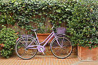 Parked bicycle, Pienza, Italy, Tuscany