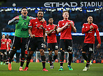 Manchester United players celebrate they win during the premier league match at the Etihad Stadium, Manchester. Picture date 7th April 2018. Picture credit should read: Simon Bellis/Sportimage