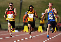 From left: Waikato Bay of Plenty's Joseph Millar, Wellington's Yarride Rosario and Otago's Todd Johnson race in the men's under-16 100m final during the National athletics championships at Newtown Park, Wellington, New Zealand on Friday, 27 March 2009. Photo: Dave Lintott / lintottphoto.co.nz