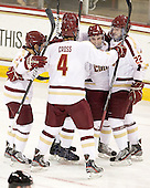 Steven Whitney (BC - 21), Tommy Cross (BC - 4), Barry Almeida (BC - 9), Paul Carey (BC - 22) - The Boston College Eagles defeated the Merrimack College Warriors 4-2 to give Head Coach Jerry York his 900th collegiate win on Friday, February 17, 2012, at Kelley Rink at Conte Forum in Chestnut Hill, Massachusetts.