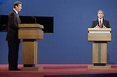 Republican Texas Governor George W. Bush, right, makes a point to Democratic Vice President Al Gore during their first presidential debate October 3, 2000 at the University of Massachusetts in Boston, Massachusetts. Bush and Gore will debate twice more before the November election.<br /> Credit: Darren McCollester / Pool via CNP