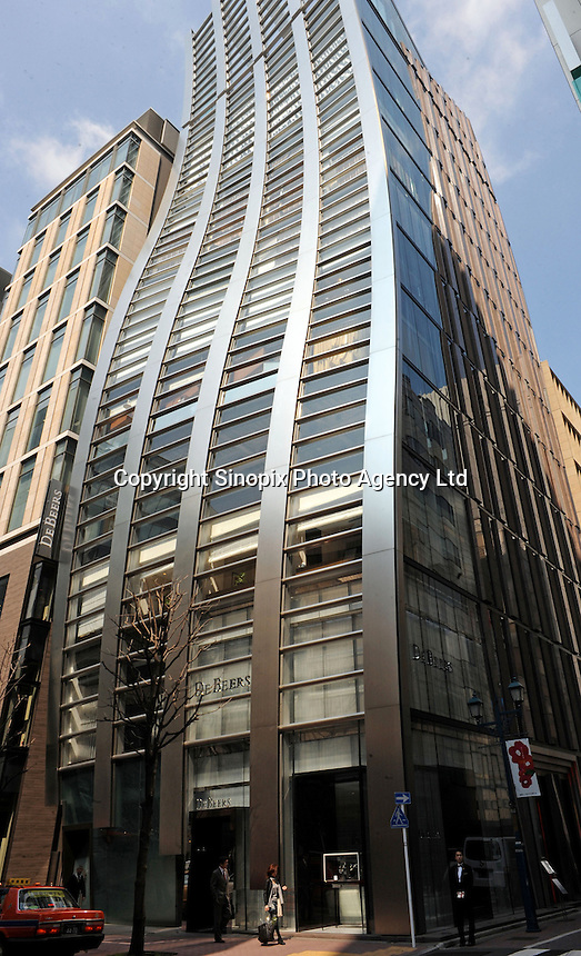 The DeBeers building in Ginza, Japan. It is designed by famous Japanese architect Jun Mitsui. The international luxury brands scattered across Ginza have warranted superior architectural facades to attract tourists to visit their stores. .
