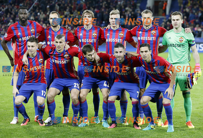 eQUIPE CSKA Moscow pose for a group photograph before their 2016/17 UEFA Champions League Group Stage football match against Tottenham Hotspur at the Arena CSKA stadium: Alexander Golovin, Roman Eremenko, Georgy Shchennikov, Zoran Tosic, Georgi Milanov (L-R front), Lacina Traore, Sergei Ignashevich, Mario Fernandes, Pontus Wernbloom, Vasili Berezutski, goalkeeper Igor Akinfeev (L-R back)<br /> Mosca 28-09-2016 <br /> CSKA - Tottenham Hotspurs<br /> Foto ITAR TASS / Panoramic / Insidefoto <br /> ITALY ONLY