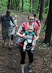 Robin Wilens with her son Landon, going forward during a Hike It Baby/ Catskills-Woodstock sponsored hike into the Esopus Bend Nature Preserve in Saugerties, NY, on Memorial Day Monday, May 30, 2016. Photo by Jim Peppler. Copyright Jim Peppler 2016<br /> The hike was led by HIB.Catsjill-Woodstock, Ambassador, Ann Peters, accompanied by her husband, John Peters, their daughter, Violet; HIB chapter co-Ambassador, Ali Troxell, with her daughter, Lucia; and Robin Willens, and her son, Landon. They entered at the Sterley Avenue entrance and walked thru to the landing area on the Esopus.