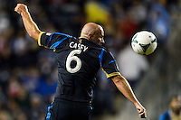 Conor Casey (6) of the Philadelphia Union heads the ball. The Houston Dynamo defeated the Philadelphia Union 1-0 during a Major League Soccer (MLS) match at PPL Park in Chester, PA, on September 14, 2013.